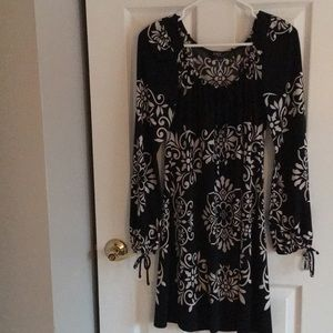 Black and Cream Print  Dress